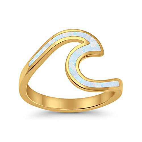 Wave Ring Band Swirl Created Lab White Opal Yellow Toneated 925 Sterling Silver
