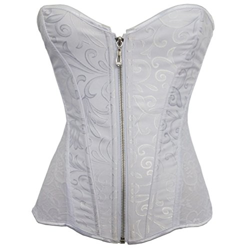 (Romady Women's Lace Zipper Strapless Overbust Steel Boned Corset Top XX-Large)