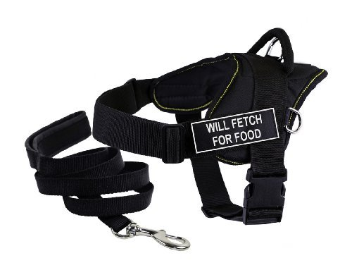 Dean & Tyler's DT Fun ''WILL FETCH FOR FOOD'' Harness, XX-Small, with 6 ft Padded Puppy Leash. by Dean & Tyler