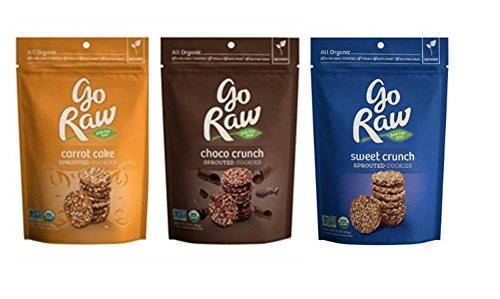 Go Raw Organic Gluten-Free Sprouted Cookies 3 Flavor Variety Bundle: (1) Go Raw Carrot Cake Cookies, (1) Go Raw Sweet Crunch Cookies, and (1) Go Raw Choco Crunch Cookies, 3 Oz. Ea. (3 Bags Total)