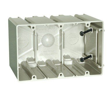 ALLIED MOULDED SB-3 New and Old Work Adjustable Three Gang Electrical Box
