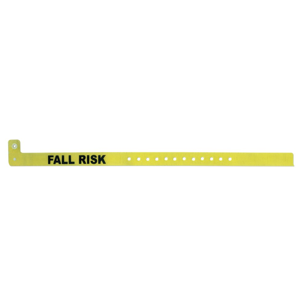 PDC Healthcare ClearImage 130A-93-PDM Vinyl Color Coded Alert Wristband, Lemon Drop Color, Permanent Snap Closure,Fall Risk Pre-Printed (Box of 500)