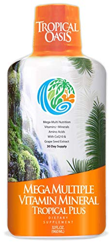 Tropical Oasis Mega Plus – Liquid Multivitamin and Mineral Supplement – Includes 85 Vitamins & Minerals, 20 Amino Acids + CoQ10, Grape Seed Extract & Organic Aloe Vera – 32oz, 32 Servings