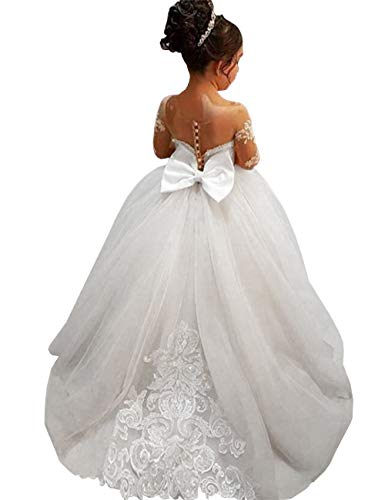 (GZY White Ivory Lace Long Sleeve Flower Girl Dresses Princess Gown Pageant Dress GZY202-WH-2 )