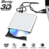 External Blu Ray DVD Drive 3D 4K, USB 3.0 Bluray DVD CD Burner Player CD RW Row Rewriter Portable Compatible for iMac Laptop PC MacBook OS Windows 7 8 10 (Silver)