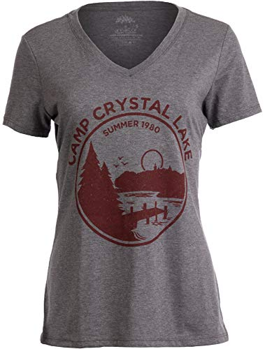 1980 Camp Crystal Lake Counselor | Funny 80s Horror Movie Fan Women Top T-Shirt-(Vneck,2XL) (Horror Tee T-shirt)