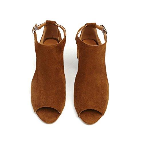 Plataforma Suela Terciopelo Marrón Blanda Fiesta Tacones Sandalias Alto Paolian Mujer Boca Verano Vestir Cuña Pescado De Romano Para 2018 Playa Zapatos Mediano 1xaUpzqx