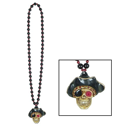 Club Pack of 12 Beaded Halloween Necklaces with Red LED Flashing Pirate Skull Medallion 36