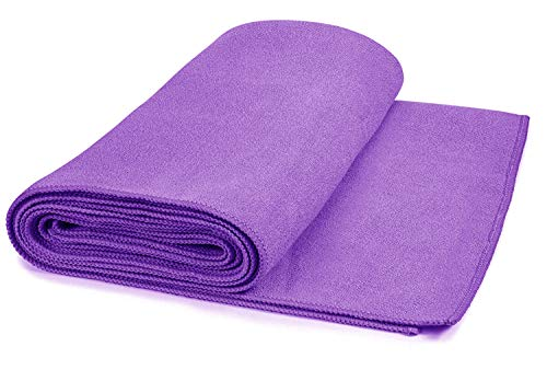 Hot Yoga Mat Towel Non-Slip, Extra-Absorbent Microfiber Anti-Bacterial Skidless Bikram Towels Cover for Exercise Workout, Fitness and Pilates or Beach Picnic Towel (24