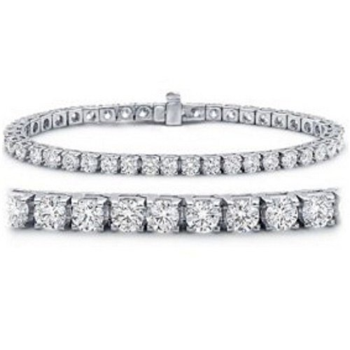 Diamond Womens Tennis Bracelet - 6 Carat Classic Diamond Tennis Bracelet 14K White Gold Value Collection