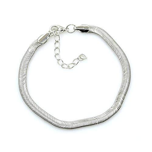 JOYID Snake Chain Anklet Flat Soft Bone Bangle Link Beach Foot Chain for Women Bracelet for Women -