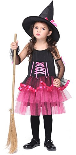 [Girlscos Girl's Witch Costume Dress 3 Piece Suit Kids Halloween Cosplay Costumes Large Black] (Funny Ideas For Girl Halloween Costumes)