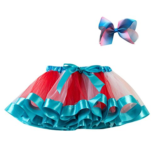 UMFun Kids Girls Tutu Party Dance Ballet Skirt Toddler Rainbow Colors Skirt+Bow Hairpin Set (Blue, 1~4 Years old) -