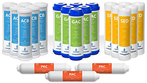 10 inch Size Water Filters FLTSETC6S6G6I3M50 22 Filters with 50 GPD RO Membrane Carbon SED GAC, ACB, PAC Express Water Sediment 3 Year Reverse Osmosis System Replacement Filter Set Filters Filters