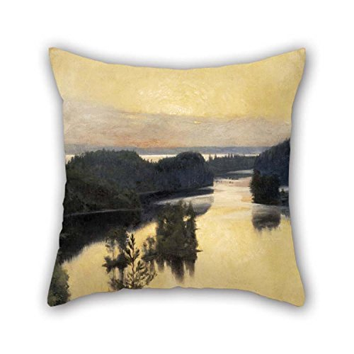 The Oil Painting Albert Edelfelt - Kaukola Ridge At Sunset Pillow Cases Of 18 X 18 Inches / 45 By 45 Cm Decoration Gift For Bedding Bf Couch Teens Girls Bar Drawing Room (2 Sides) for Christmas
