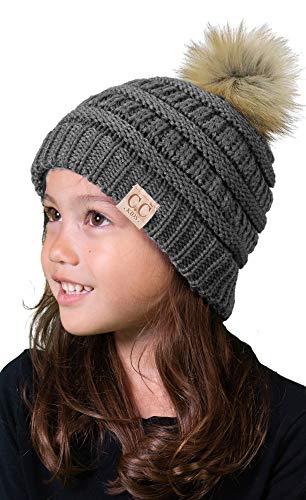 H-6847-4321 Kids Pom Beanie - Grey (Faux Fur - Fur Faux Baby Mittens