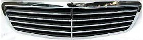 Crash Parts Plus Chrome Shell w/ Black Insert Grille Assembly for Mercedes-Benz S-Class MB1200115
