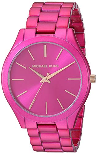 Michael Kors Women's Slim Runway Quartz Watch with Stainless Steel Strap, Pink, 20 (Model: MK4414)