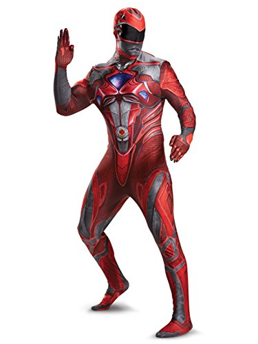 Disguise Men's Red Ranger Movie Bodysuit Costume, -