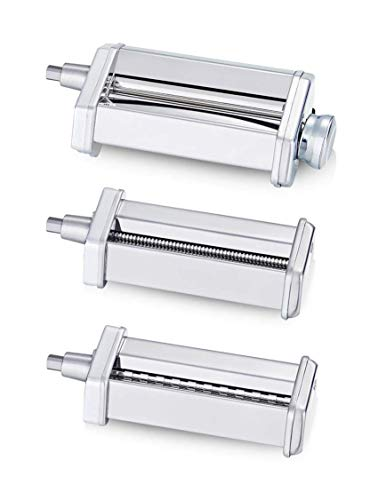 3 Piece Pasta Roller Cutter Attachment Set Compatible with KitchenAid Stand Mixers, Included Pasta Sheet Roller, Spaghetti Cutter, Fettuccine Cutter Maker Accessories and Cleaning Brush (Renewed)