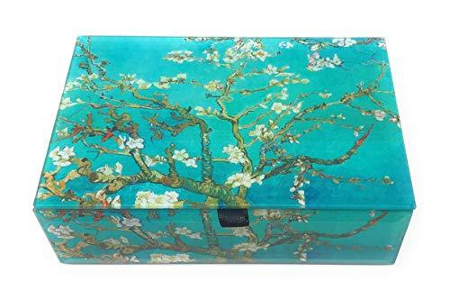 Black Beveled Glass - Value Arts Van Gogh's Almond Blossoms Glass Keepsake Box, Beveled Glass, Velvet Lined, 5.75 Inches Wide