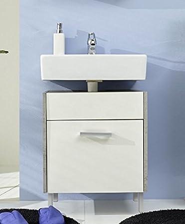 Waschbeckenunterschrank stehend grau  Waschbeckenunterschrank weiß Splash mit Industrie Beton grau 51 x ...