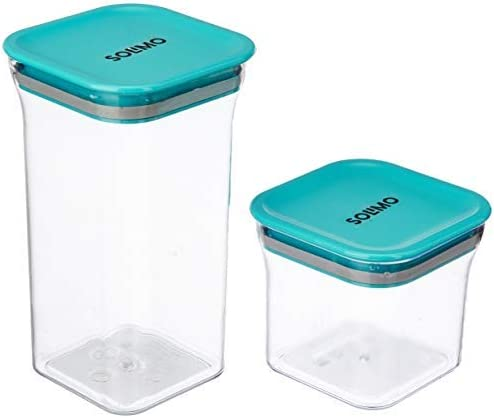 Amazon Brand - Solimo Plastic Container Set, Set of 4 (Blue)