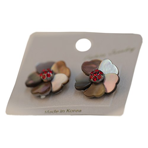 THE ZAGE Flower Mother-of-Pearl Earrings, Korean Traditional Elegant Style Accessories for Women - Black Cherry