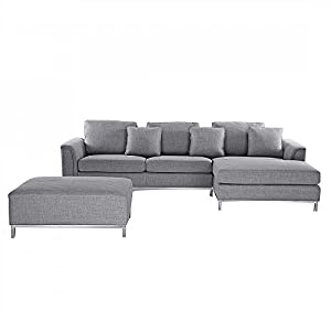 Amazoncom beliani oslo upholstered modern design for Gray sectional sofa amazon
