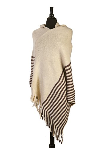Hooded Fringe (Women's Hooded with Fringes Batwing Knit Poncho 4 Colors Available, MH105 - Beige)