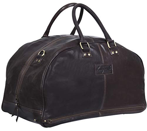 Brown Leather Travel Carry On Duffle Bag Luggage for Men and Women