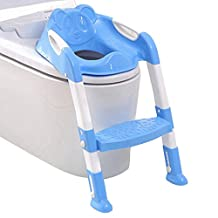 Qianle Kids Toilet Seat Ladder Baby Toddler Folding Potty Chair Training Blue