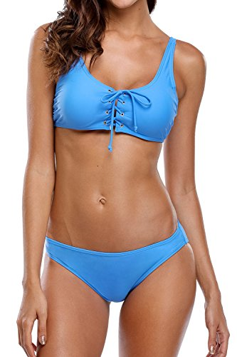 beautyin Womens Strappy Front Criss Cross Bikini Set 2 Piece Bikini Swimsuits