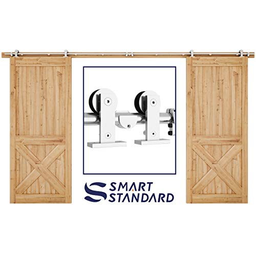 SMARTSTANDARD 12ft Stainless Steel Double Door Sliding Barn Door Hardware Kit -Smoothly and Quietly -Easy to Install -Includes Installation Instruction Fit 36 Wide Door Panel (T Shape Hanger)