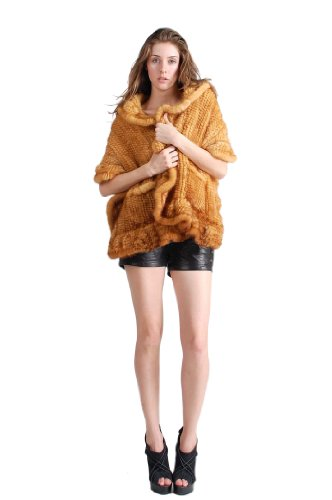 Queenshiny Women's Knitted Mink Fur Cape-Yellow-L(12-14) by Queenshiny