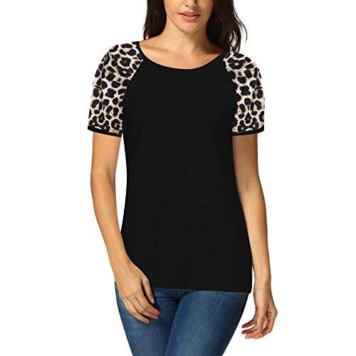 Dressin Women's Plus Size Leopard Print Patchwork Short Sleeve Top Elastic Hem T Shirts ()
