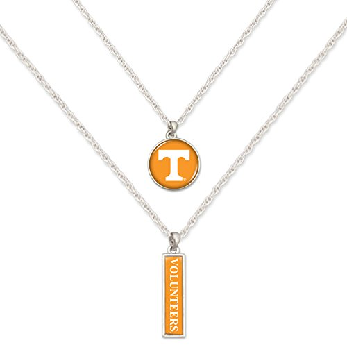 (FTH Tennessee Volunteers Silver Tone Double Charm Necklaces with Logo Charm and Nameplate Necklaces)