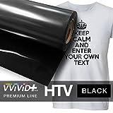 VVIVID+ Black Premium Line Heat Transfer Garment Vinyl Film for Cricut, Silhouette & Cameo (12'' x 50ft)