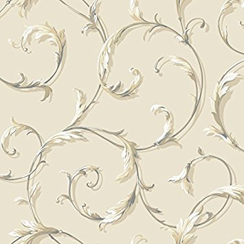 (York Wallcoverings AB1962 Ashford Black & White Acanthus Scroll Wallpaper, Beige/Tan)