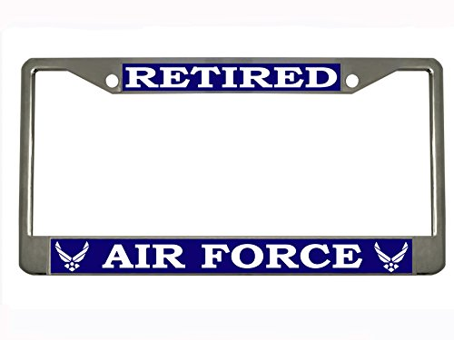 US Air Force Retired Steel License Plate Frame Tag Holder