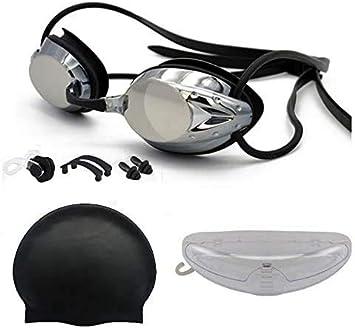 Gafas de Natación Negra. Antivaho. Resistentes Gafas para Nadar Bucear. Protección UV sin Fugas. Pack Clip de Nariz. Gorro de Baño. Tapones Natación. para Adultos Niños. Natación Piscina Playa