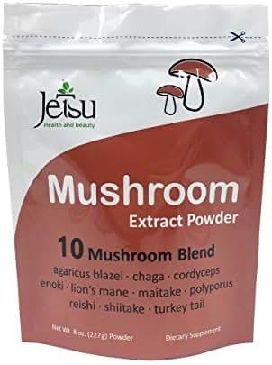 Mushroom Extract Powder - Powerful 10 Blend, 112ct - 2200MG Organic Lions Mane, Cordyceps, Reishi, Shiitake, Turkey Tail Mushrooms Nootropic Brain Supplement for Energy, Calm, Focus & Immune System