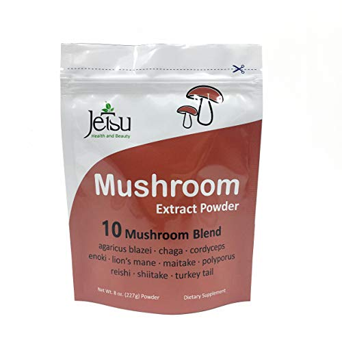 Mushroom Extract Powder - Powerful 10 Blend, 112ct - 2200MG Organic Lions Mane, Cordyceps, Reishi, Shiitake, Turkey Tail Mushrooms Nootropic Brain Supplement for Energy, Calm, Focus & Immune System ()