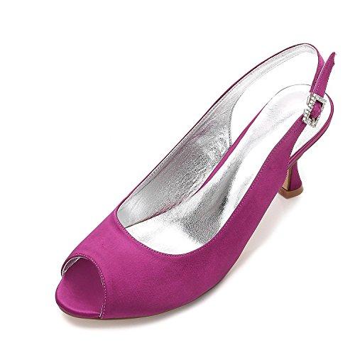 Sposa T17061 Tacco Basso Scarpe yc Purple Donna Con In Avorio Stile 8 L Jane 17 3 Peep Toe Da Raso PZqwxa6nt6