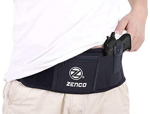 Waterproof Adjustable Heavy Duty Neoprene & Leather Portable Belly Band Holster for Concealed Carry with Multiple Pockets Zippers and Fasteners, Left-Handed -