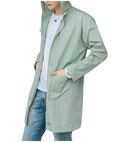 Pocket Green Sunscreen AngelSpace Length Fit Men's Windbreaker Hood Light Mid Custom 7xWwUqRfF