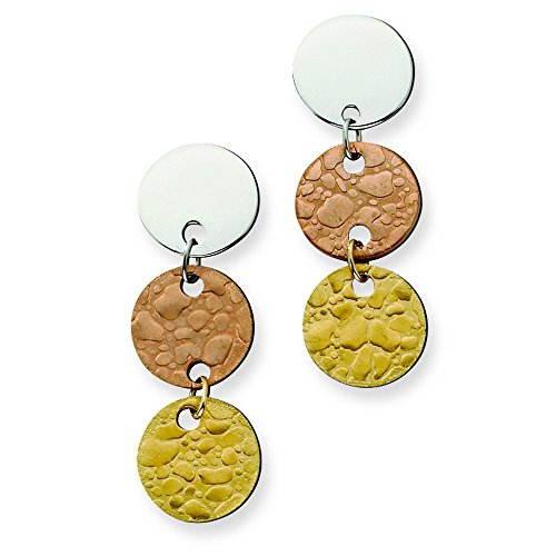 Stainless Steel Rose Ip & Gold Ipg-Plated Circle Earrings