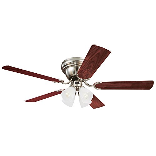 Westinghouse 7216000 Traditional Contempra IV 52 inch Brushed Nickel Indoor Ceiling Fan, Light Kit with Frosted Ribbed Glass