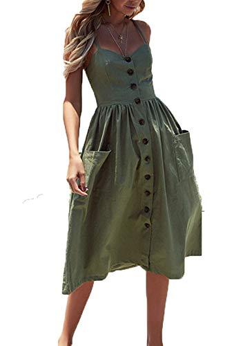 Women Boho Clothes Olive Casual Dress Slip midi Lightweight Cotton Dress Green 2XL