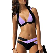 Women Crisscross Color Block Padded Bikini